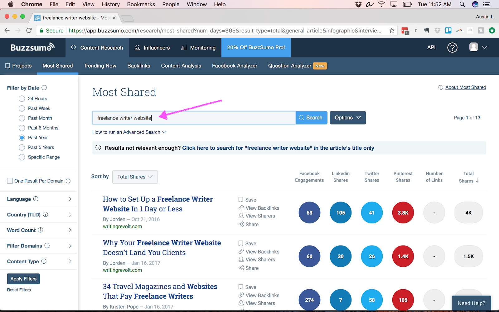 using BuzzSumo to find title ideas